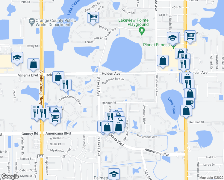 map of restaurants, bars, coffee shops, grocery stores, and more near 4799 South Texas Avenue in Orlando