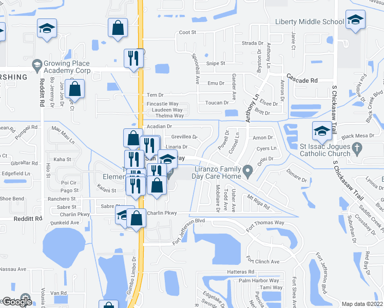 map of restaurants, bars, coffee shops, grocery stores, and more near 7811 Sun Vista Way in Orlando