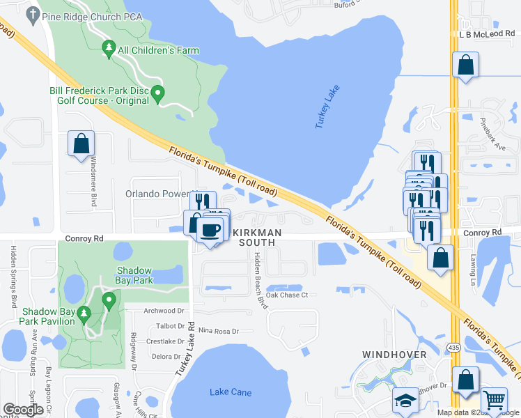 map of restaurants, bars, coffee shops, grocery stores, and more near 6421 Conroy Road in Orlando