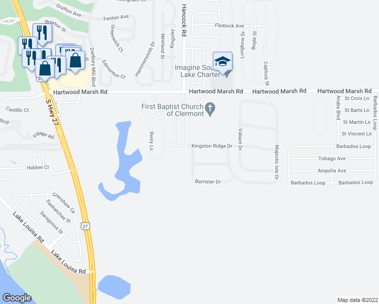 map of restaurants, bars, coffee shops, grocery stores, and more near 4500-4504 Barrister Drive in Clermont