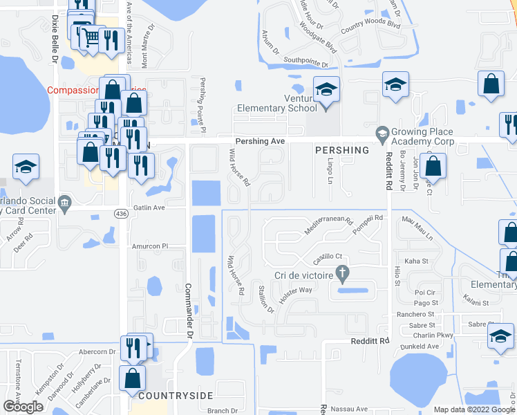 map of restaurants, bars, coffee shops, grocery stores, and more near 5087 Commander Drive in Orlando