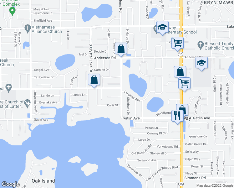 map of restaurants, bars, coffee shops, grocery stores, and more near 3415 Eubanks Avenue in Orlando