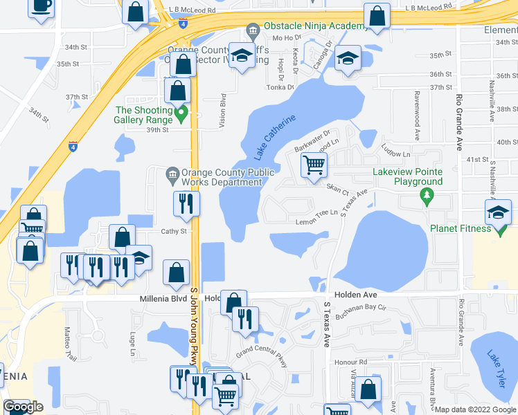 map of restaurants, bars, coffee shops, grocery stores, and more near 4338 Aqua Vista Drive in Orlando