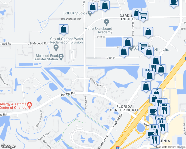 map of restaurants, bars, coffee shops, grocery stores, and more near 4700 Cason Cove Drive in Orlando