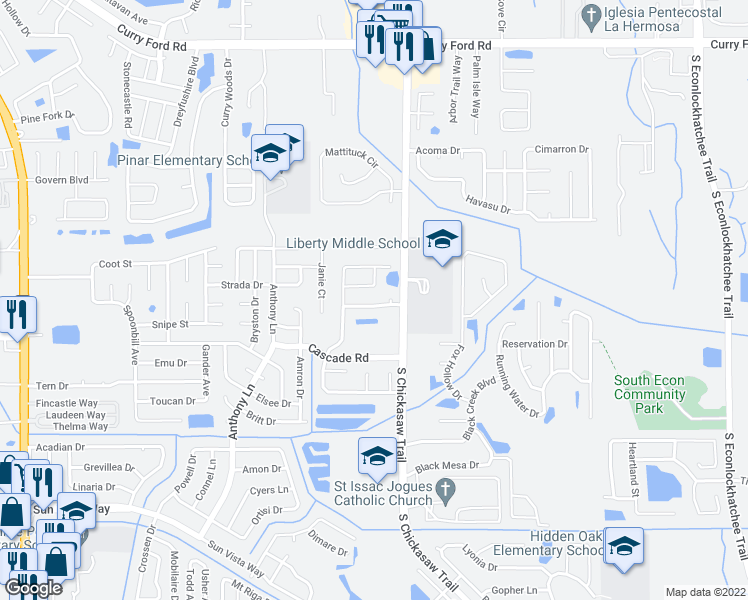 map of restaurants, bars, coffee shops, grocery stores, and more near 8243 Rain Forest Drive in Orlando