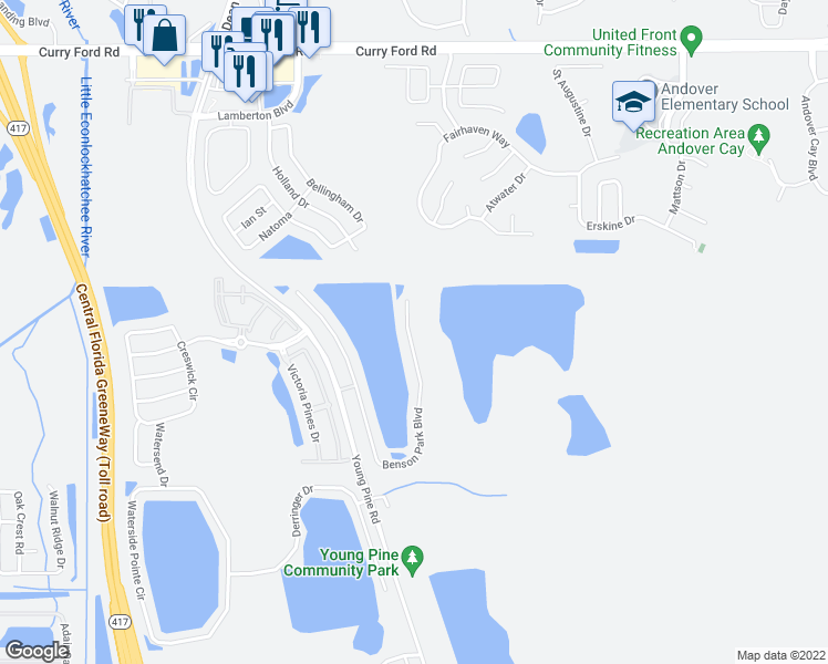 map of restaurants, bars, coffee shops, grocery stores, and more near 3912 Benson Park Boulevard in Orlando