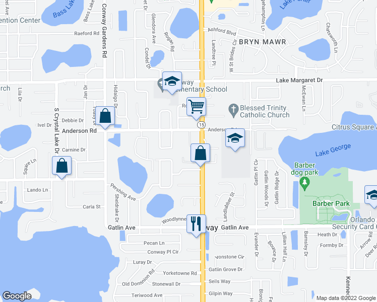 map of restaurants, bars, coffee shops, grocery stores, and more near 3502 Bocage Drive in Orlando