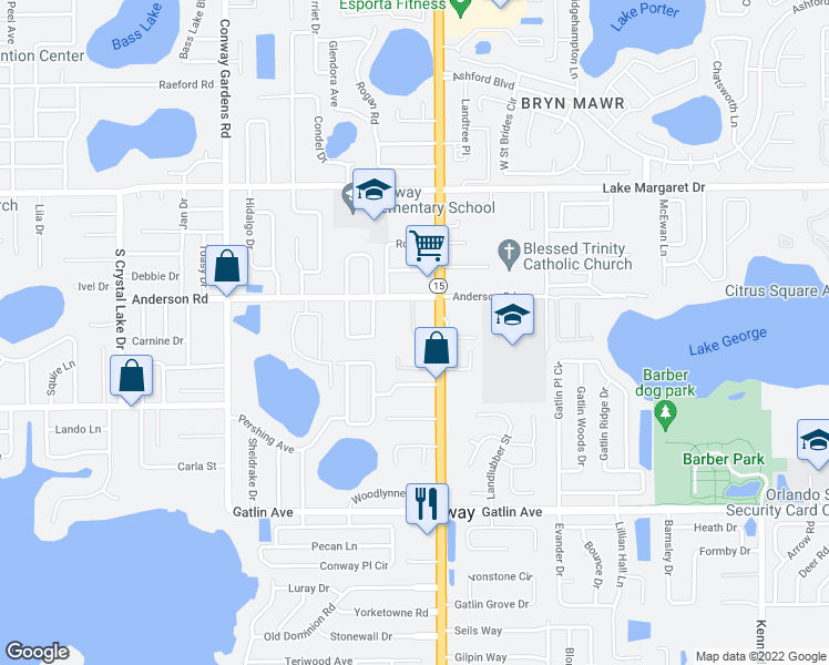 map of restaurants, bars, coffee shops, grocery stores, and more near 3418 Conway Road in Orlando