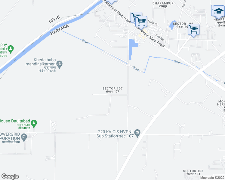 map of restaurants, bars, coffee shops, grocery stores, and more near 107 Sector Road in Gurgaon