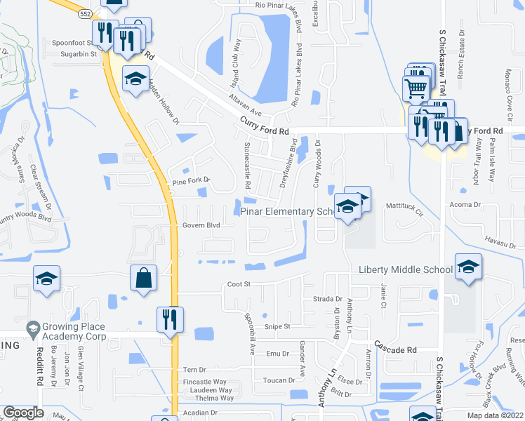 map of restaurants, bars, coffee shops, grocery stores, and more near 7957 Merrimac Cove Drive in Orlando