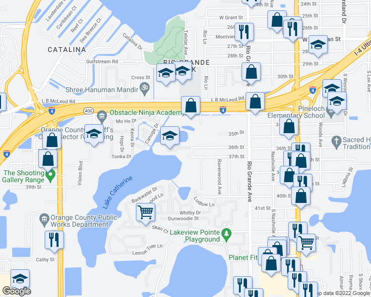 map of restaurants, bars, coffee shops, grocery stores, and more near 2038-2198 36th Street in Orlando
