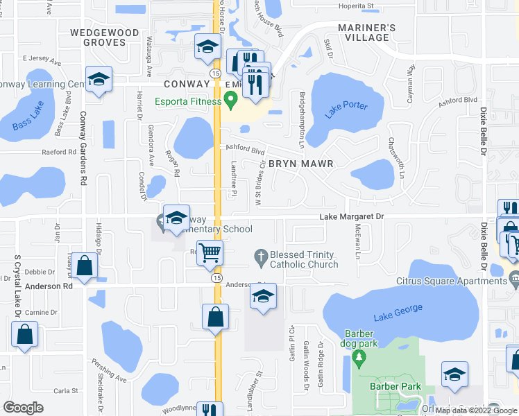 map of restaurants, bars, coffee shops, grocery stores, and more near 4034 South Saint Brides Circle in Orlando
