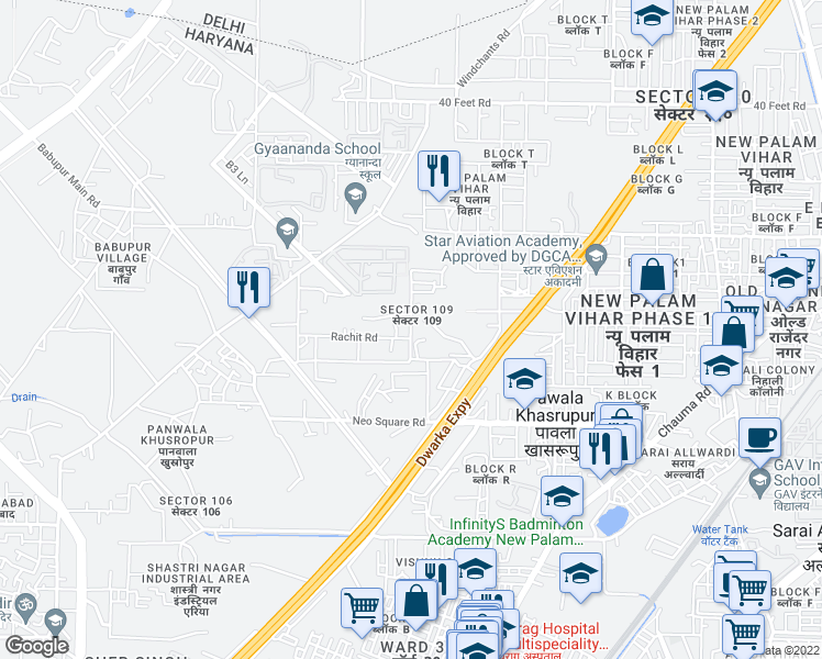 map of restaurants, bars, coffee shops, grocery stores, and more near Dwarka Expressway in Gurugram