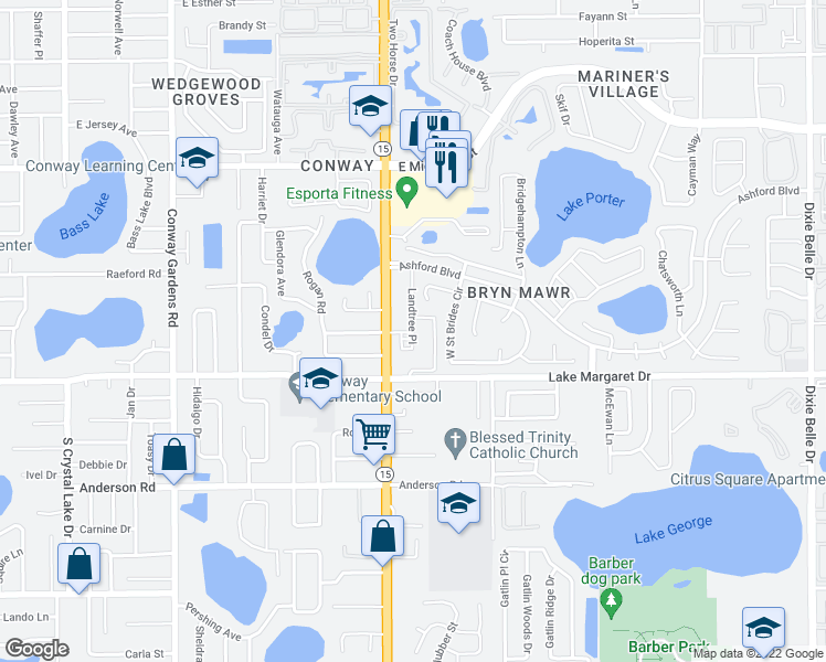 map of restaurants, bars, coffee shops, grocery stores, and more near 3149 Landtree Place in Orlando
