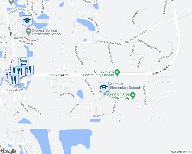 map of restaurants, bars, coffee shops, grocery stores, and more near 2818 Saint Augustine Drive in Orlando