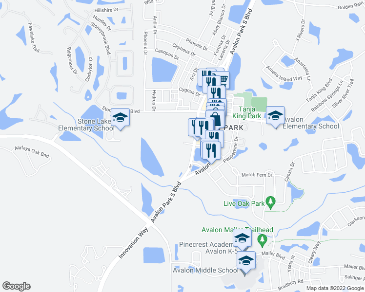 map of restaurants, bars, coffee shops, grocery stores, and more near 12722 Avalon Lake Drive in Orlando