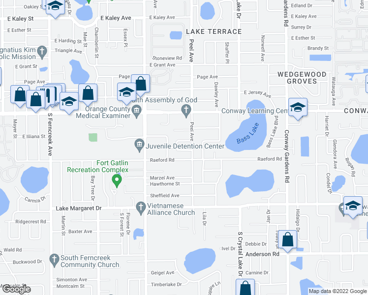 map of restaurants, bars, coffee shops, grocery stores, and more near 2721 Shannon Road in Orlando