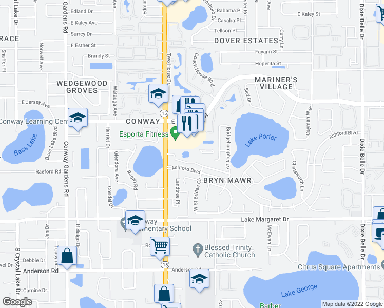 map of restaurants, bars, coffee shops, grocery stores, and more near 2859 South Conway Road in Orlando
