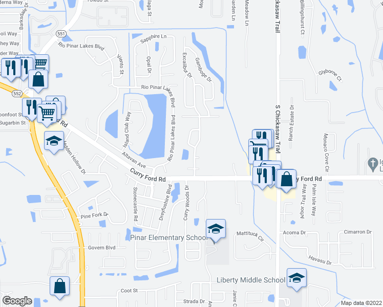 map of restaurants, bars, coffee shops, grocery stores, and more near 2238 Excalibur Drive in Orlando