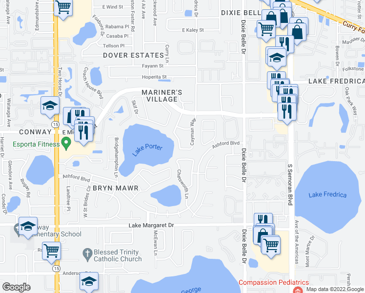 map of restaurants, bars, coffee shops, grocery stores, and more near 3124 Cayman Way in Orlando