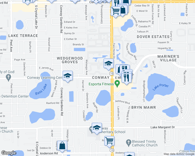 map of restaurants, bars, coffee shops, grocery stores, and more near 2700 Bolder Lane in Orlando