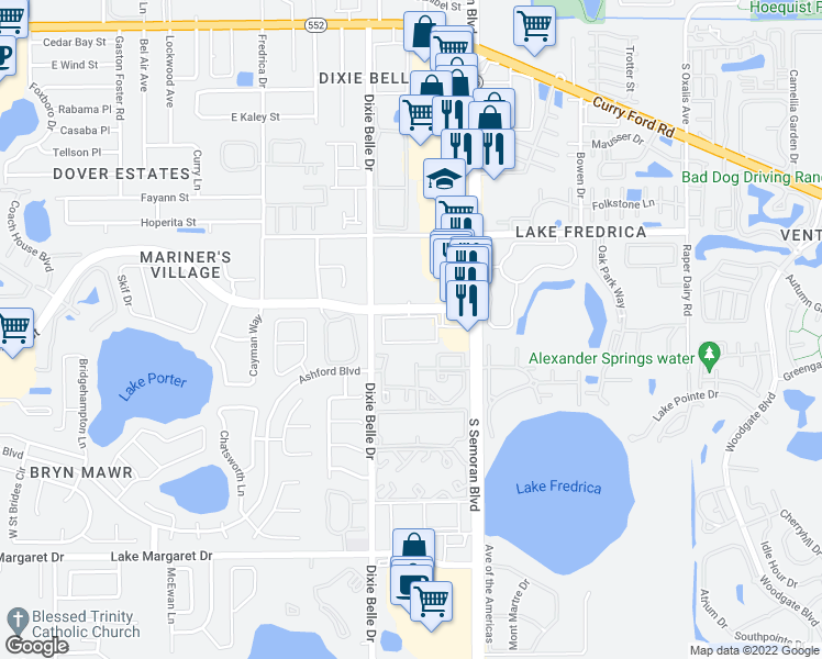 map of restaurants, bars, coffee shops, grocery stores, and more near 5550 East Michigan Street in Orlando