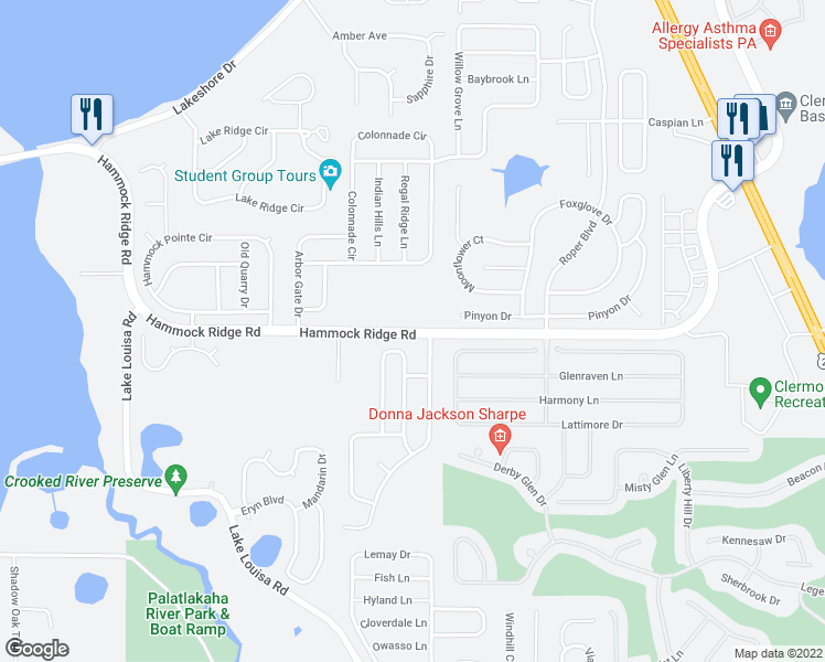 map of restaurants, bars, coffee shops, grocery stores, and more near Hammock Ridge Road in Clermont