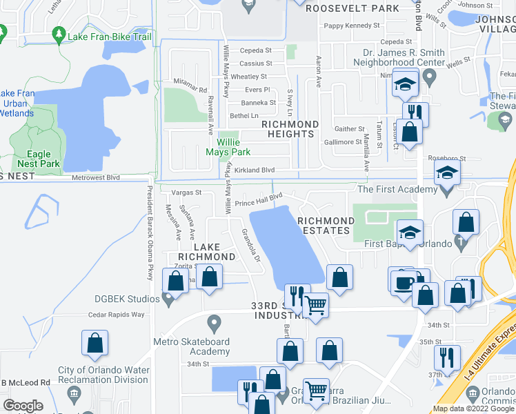 map of restaurants, bars, coffee shops, grocery stores, and more near 4464 Prince Hall Blvd in Orlando