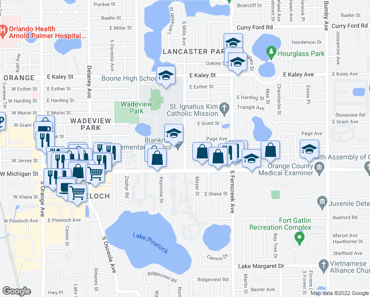 map of restaurants, bars, coffee shops, grocery stores, and more near 2500-2504 South Mills Avenue in Orlando