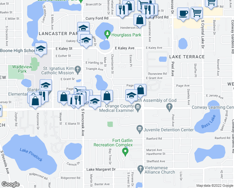 map of restaurants, bars, coffee shops, grocery stores, and more near 2506 Homeland Street in Orlando
