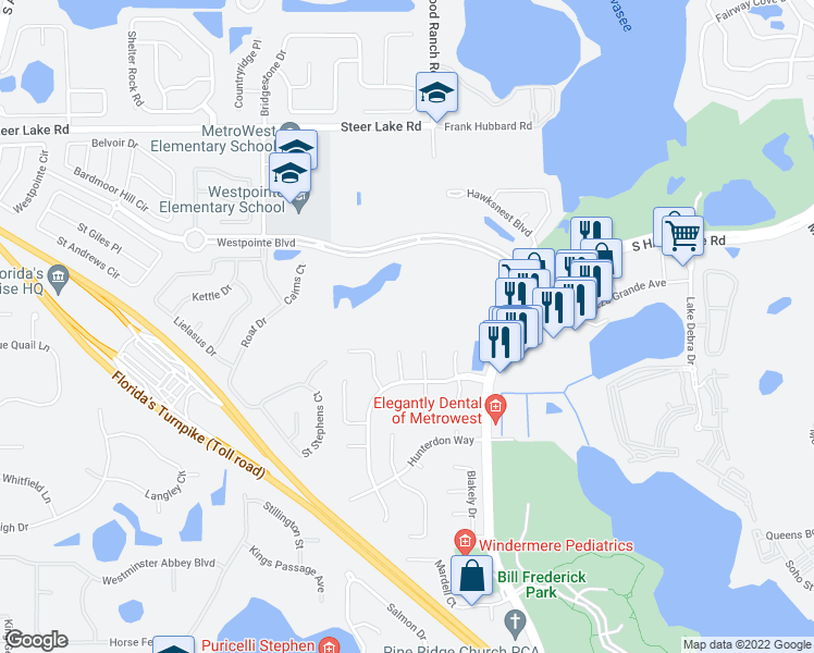 map of restaurants, bars, coffee shops, grocery stores, and more near 7280 Westpointe Boulevard in Orlando
