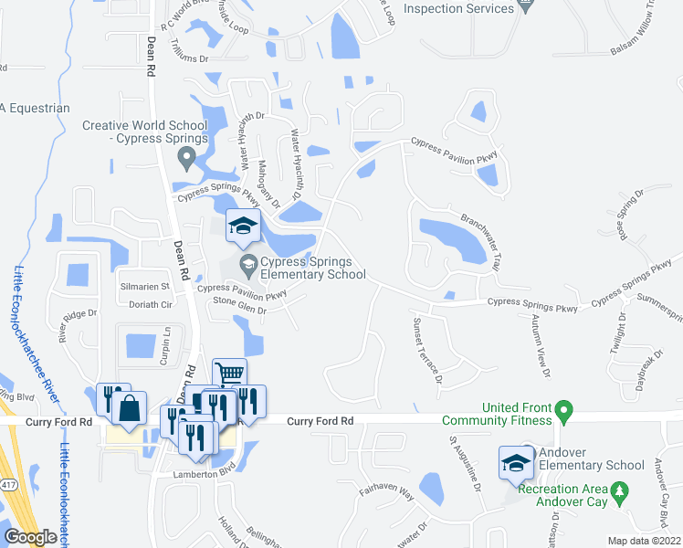 map of restaurants, bars, coffee shops, grocery stores, and more near 1930 Stonecrest Court in Orlando