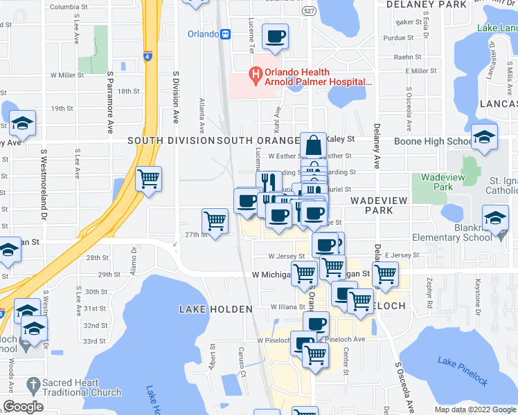 map of restaurants, bars, coffee shops, grocery stores, and more near 93 West Grant Street in Orlando