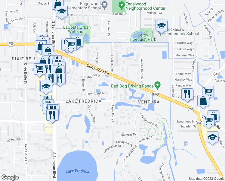 map of restaurants, bars, coffee shops, grocery stores, and more near 2161 Raper Dairy Road in Orlando