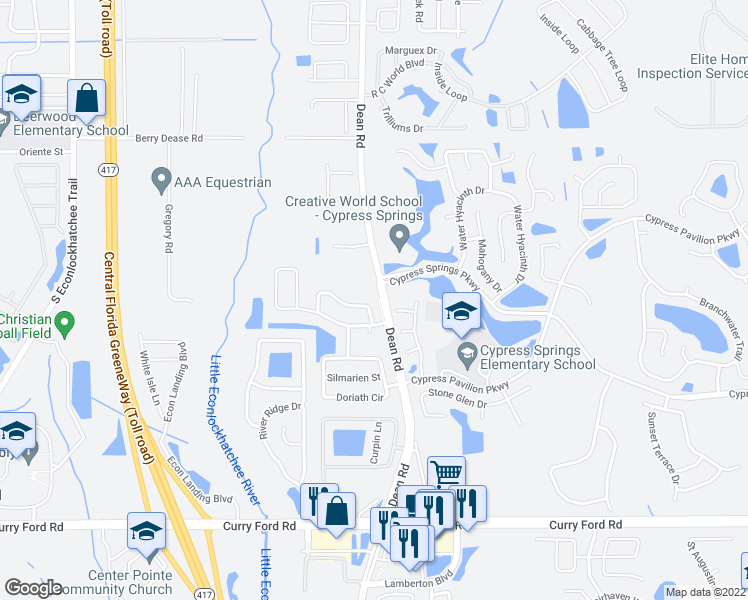 map of restaurants, bars, coffee shops, grocery stores, and more near 9975 Triple Crown Circle in Orlando