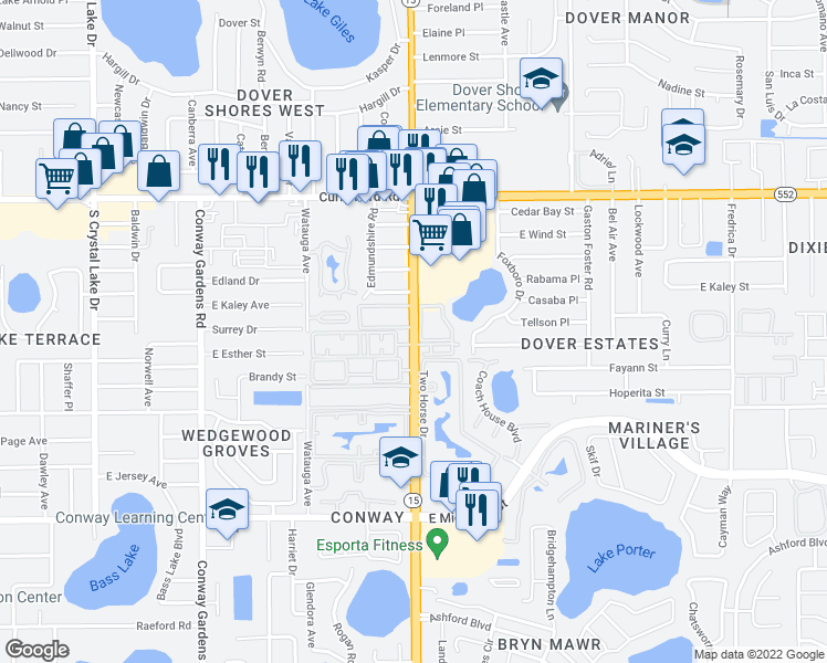 map of restaurants, bars, coffee shops, grocery stores, and more near 1916 South Conway Road in Orlando