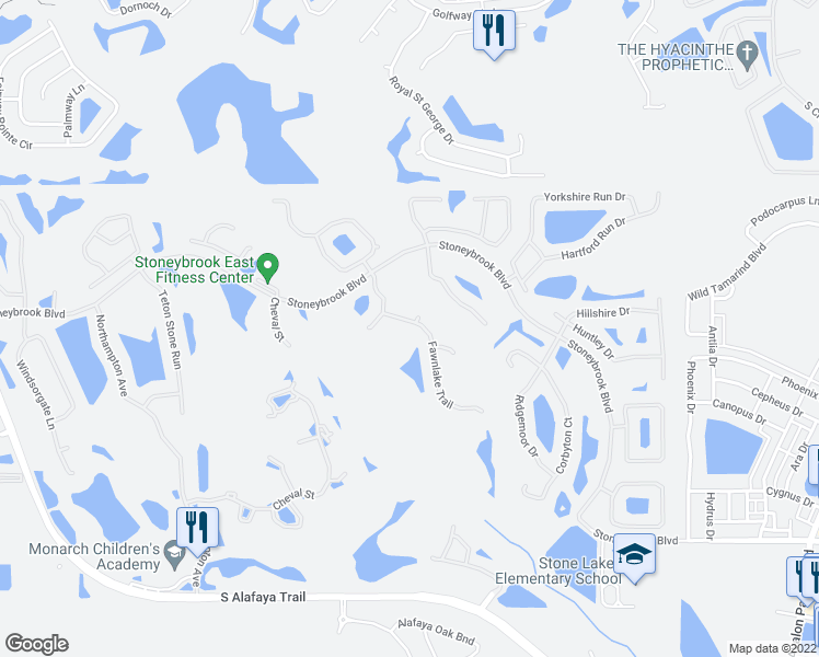 map of restaurants, bars, coffee shops, grocery stores, and more near 2430 Fawnlake Trail in Orlando