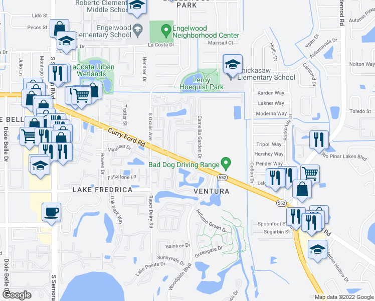 map of restaurants, bars, coffee shops, grocery stores, and more near 6203 Curry Ford Road in Orlando