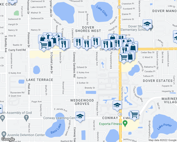 map of restaurants, bars, coffee shops, grocery stores, and more near 3725 East Kaley Avenue in Orlando