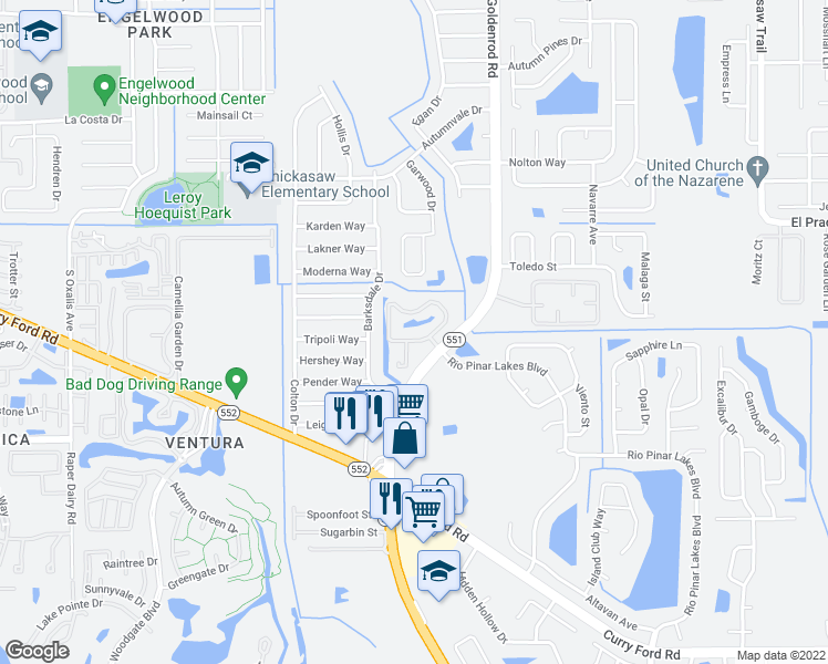 map of restaurants, bars, coffee shops, grocery stores, and more near 7100 Gateshead Circle in Orlando