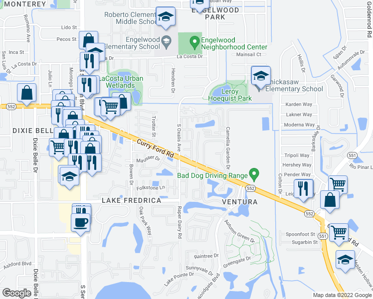 map of restaurants, bars, coffee shops, grocery stores, and more near 6020 Amberly Avenue in Orlando