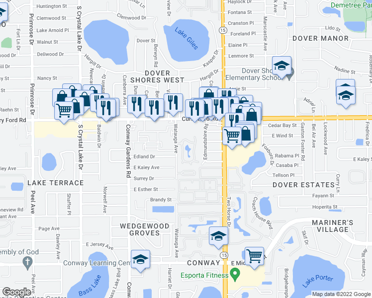 map of restaurants, bars, coffee shops, grocery stores, and more near 1637 Watauga Avenue in Orlando