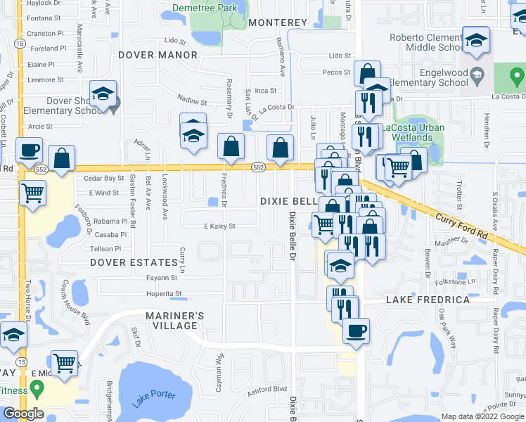 map of restaurants, bars, coffee shops, grocery stores, and more near 1815 Larkin Avenue in Orlando