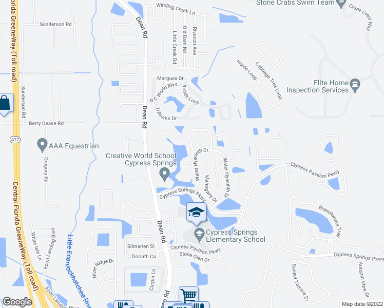 map of restaurants, bars, coffee shops, grocery stores, and more near 1600 Lady Slipper Circle in Orlando