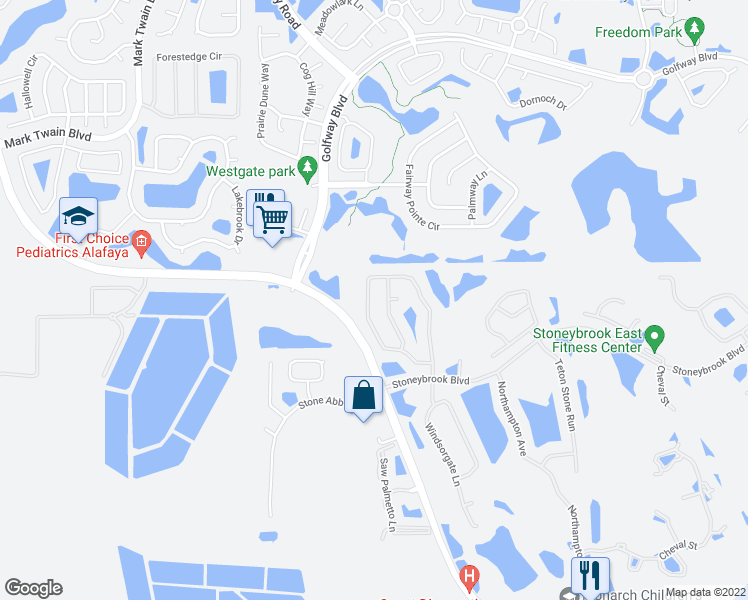 map of restaurants, bars, coffee shops, grocery stores, and more near 2265 Stone Cross Circle in Orlando
