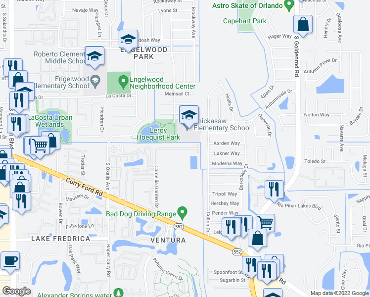 map of restaurants, bars, coffee shops, grocery stores, and more near 6400 Camellia Garden Dr in Orlando