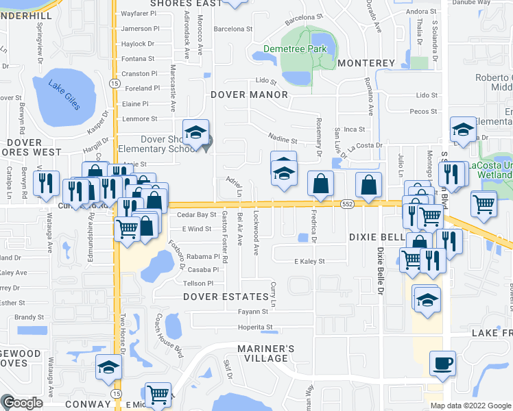 map of restaurants, bars, coffee shops, grocery stores, and more near Curry Ford Rd & Lockwood Ave in Orlando