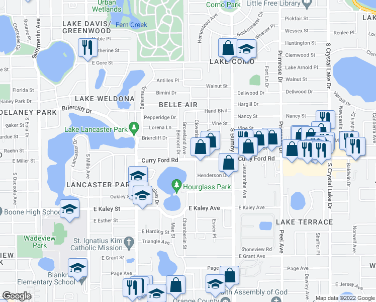 map of restaurants, bars, coffee shops, grocery stores, and more near 1521 Groveland Avenue in Orlando
