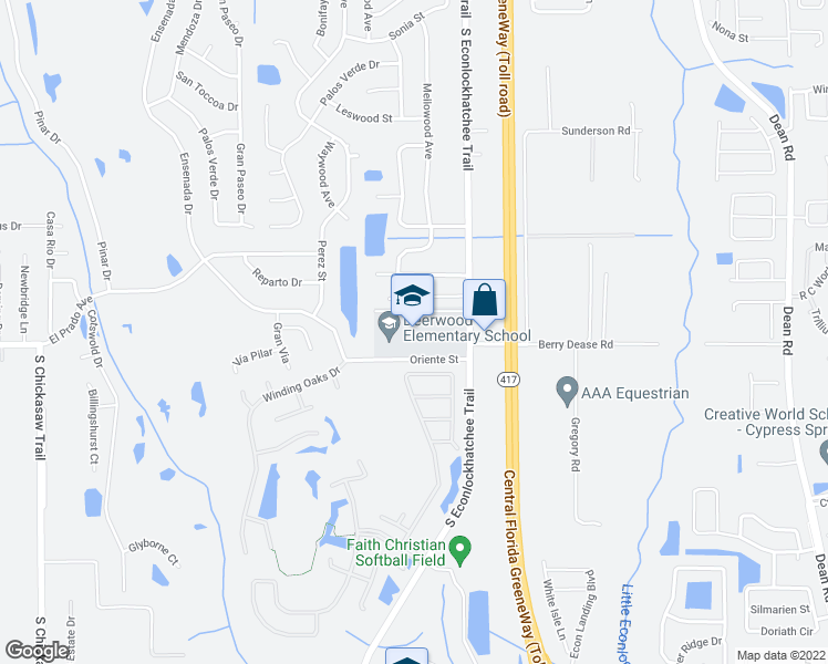 map of restaurants, bars, coffee shops, grocery stores, and more near 1356 South Econlockhatchee Trail in Orlando