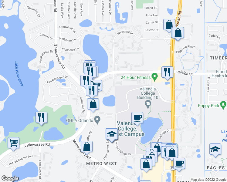 map of restaurants, bars, coffee shops, grocery stores, and more near 6396 Raleigh Street in Orlando